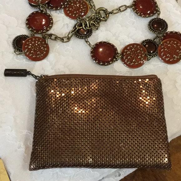 Whiting & Davis Handbags - Whiting & Davis, Zippered Bronze Clutch,